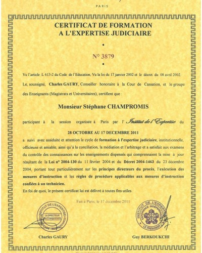 Certificat formation expertise judiciaire