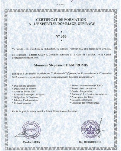 Certificat formation expertise dommage ouvrage